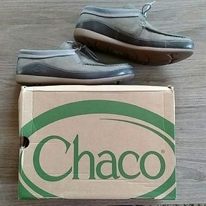 Chaco Pineland Moccasin Nickel Gray Leather Lace